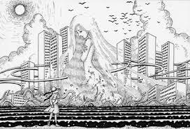 ペン画インクで描いたイラスト 女神アフロディーテヴィーナス