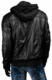 black leather jacket with hoo men s slim fit black jacket s jacket