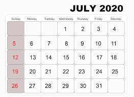 Calendar July 2020 Printable Download Free July 2020 Printable Calendar Template Pdf