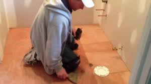 Flooring For Kitchens And Bathrooms How To Install Vinyl Flooring In A Bathroom Youtube