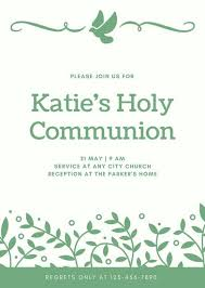first communion invitation templates green dove leaves girl first communion invitation templates by canva
