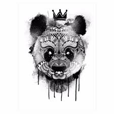 Cool Panda Designs Wholesale Black Decal Waterproof Tattoo Panda King Pattern Sticker Design Km 052 Cool Women Man Inspired Body Art Temporary Tattoo Customized Tattoos