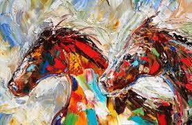 wild horses abstract horse painting by karen tarlton fine art palette knife