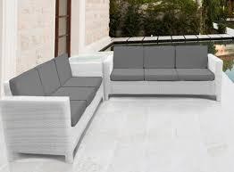 white rattan garden furniture corner