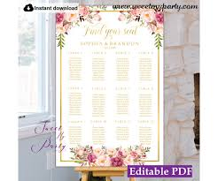 Floral Seating Chart Template Blush Flowers Seating Chart 31g