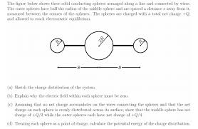 solved the figure below shows three solid conducting sphe Umber Line Signals Wiring Diagrams icting spheres arranged along a line and connected by the outer spheres have half the radius