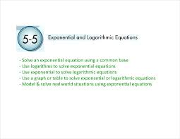 lesson 5 5 exponential and log equations answers