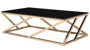 interior modern rose gold and black glass geo coffee table zuri furniture latest original 0