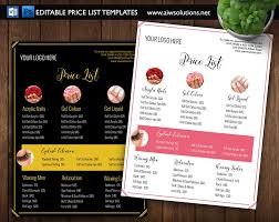 Nail Salon Pricing List-Id01 ~ Stationery Templates ~ Creative Market