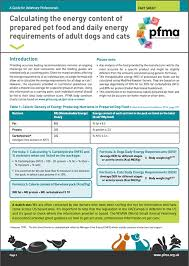 Calorie Factsheet Pfma
