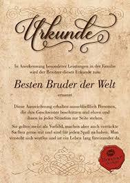 Urkunde Für Den Besten Bruder Der Welt Geschenkkarte Zum Geburtstag Weihnachten