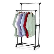 Rolling Portable Adjustable Clothes Rack Double Bar Rail Hanging Garment  Hanger