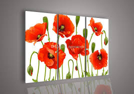 2018 framed 3 panel modern flower oil painting on canvas handpainted home living room decoration picture red poppy a6m2 from dgrpaintings 89 46 dhgate