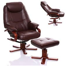 the macau bonded leather recliner swivel chair with matching footstool in nut brown co uk kitchen home