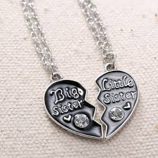 2pcs crystal broken heart pendant necklace big sister little sister jewelry for