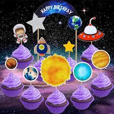Space Birthday Cake Designs 45 Pieces Solar System Birthday Cake Topper Galaxy Astronaut Cupcake Toppers Earth Cupcake Toppers Planet Toppers For Space Theme Party Birthday