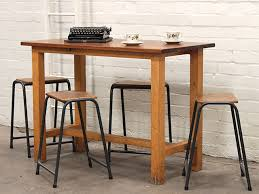 old school science lab table with steel and beech stools