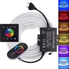 RGB Neon Dây Chống Nước EU AU Anh 220V Hoa Kỳ 110V Tường Cảm Ứng Từ Xa Ruy  Băng Dẻo LED Neon dấu Hiệu Ánh Sáng Đèn 5050 Dây Đèn LED