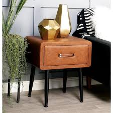 litton lane brown faux leather storage side table with black iron legs