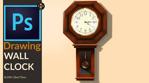 drawing a old og wooden wall clock in adobe photo cc