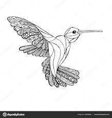 Zentangle стиль колибри монохромный эскиз раскраски страницы