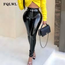 senarai harga fqlwl latex faux pu leather pants women trousers push up high waist skinny pants pencil autumn winter black y pants female terbaru di