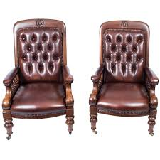 antique pair of english victorian leather armchairs circa