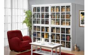 furniture white wooden book cabinet with sliding glass door added regarding library doors designs 10