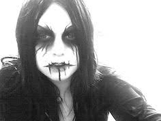 a heavymetal goth face paint makeup idea pairs great with some black gothic