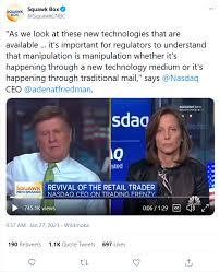 Where capital market logistics are. Adena Friedman Ceo Of Nasdaq Wants More Regulation Wallstreetbets Gamestop Short Squeeze Know Your Meme