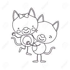 似顔絵スケッチ輪郭子猫他のかわいい動物愛のベクトル図を運ぶ 1 つのカップルと