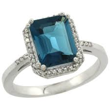 sterling silver diamond natural london blue topaz ring emerald cut 9x7mm 1 2