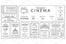 tickets template ticket templates pack illustrations creative market blank