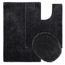 grand isle dark gray 21 in x 34 in striped nylon 3 piece bath mat set