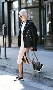 white knit dress a black jacket and chucks