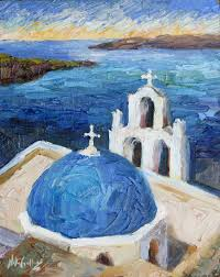 true blue palette knife oil painting from santorini greece by niki gulley