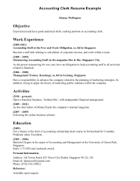 Resume Sample For Accounting Clerk Coles Thecolossus Co With