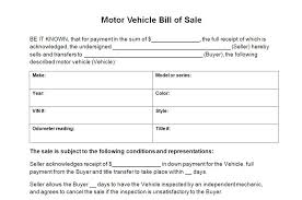 Motor Vehicle Bill Of Sale Template Sample Agreement Used Car Sales ...