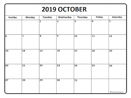 Calendar Doc October 2019 Calendar Word