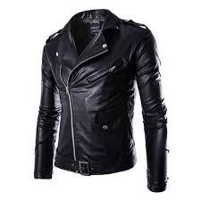 mens slim fit pu leather biker jacket cool