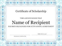 Scholarship Certificate Template For Word Word Certificate Agarvain Org