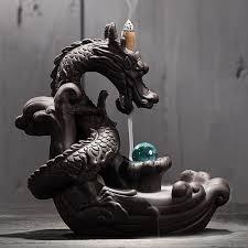 Ceramic <b>Backflow Incense Burner Creative</b> Home Decor Dragon ...