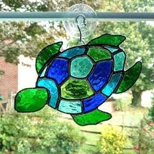 stain glass turtle stained glass turtle turtle ornament blue and green glass beach decor easy turtle