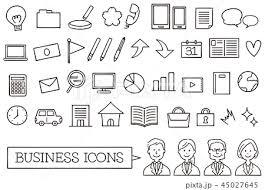 手書き風ビジネスアイコンのセットラインのみのイラスト素材