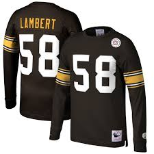 Steelers Retired Long Mitchell Ness Black Player Name Jack Sleeve Lambert Top Pittsburgh Number amp;