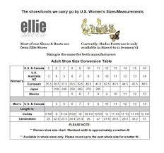 Ellie Shoes Size Chart