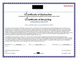 Sample Certificate Of Records Destruction Copy Stunning Destruction