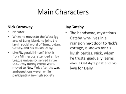 the great gatsby by f scott fitzgerald fitzgerald and the jazz  4 main characters