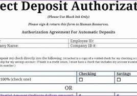 Direct Deposit Form Template Direct Deposit Authorization Form Template Awesome Bank Deposit Form