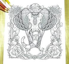 Stress Relief Coloring Pages Elephant A Adult Abstract Animals And